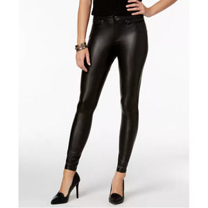 HUE Black Leatherette Leggings Zipper Pockets